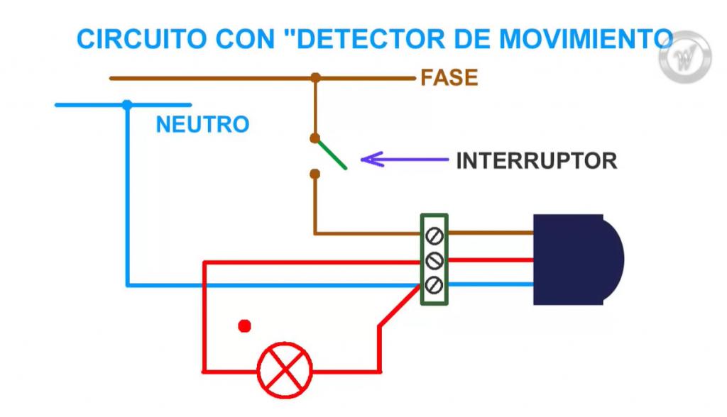 circuito detector de movimiento con luz e interruptor
